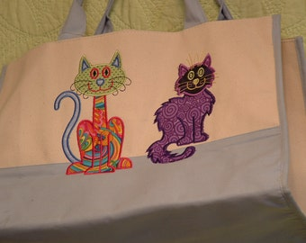 Whimsical Tote Bag with Playful Kitties ****** On Sale This Week******