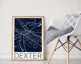 Dexter MI Map / Dexter MI Poster / Dexter MI Print / Dexter Map / Dexter Michigan / Dexter Michigan Print