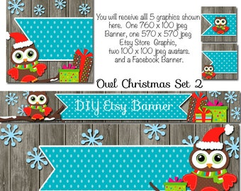 Owl Holiday Etsy Set, DIY Blank Etsy Banner and Facebook Set - Owl Christmas Set 2, Etsy Facebook Set, Holiday Etsy Template