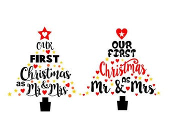 Our first Christmas wedding mr. mrs. Monogram Frame Cuttable Design SVG PNG DXF & eps Designs Cameo File Silhouette