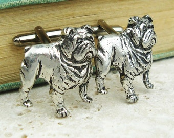 Bulldogs Cufflinks. Antiqued Silver Pewter Cufflinks