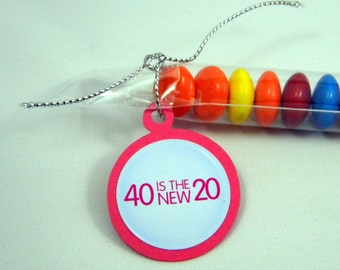 40th Birthday Party Favors - 40 is the New 20, Candy Treat Bags, Set of 12