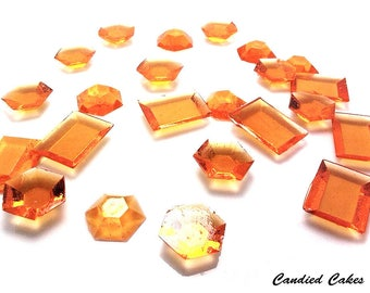 ORANGE EDIBLE SUGAR Jewels - Cupcake Toppers, Wedding Cake Decorations, Candy or Dessert Table, Sugar Gems, Featured in Brides Magazine