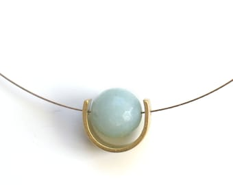 Amazonite Eclipse Moon Phase Necklace // Dainty Wire Brass Crescent Gemstone Necklace //