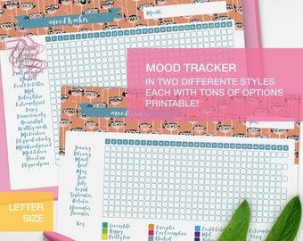 Mood tracker printable - LETTER planner inserts - self care planner - me time