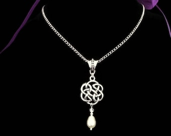 Scotland Inspired, Celtic Necklace with Swarovski Crystal & Crystal Pearl.