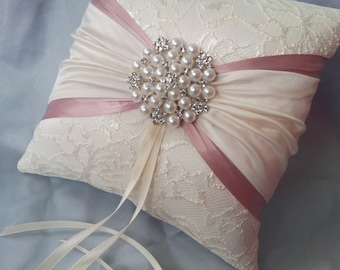 Ivory Rose Pink Ring Bearer Pillow Satin Sash Lace Ring Pillow Pearl Rhinestone Accent