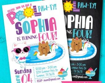 Puppy Invitation, Pool Birthday Party, Puppy Birthday Party, Summer Birthday Invitation, Puppy Party, Pet Birthday, Digital, 2 Options