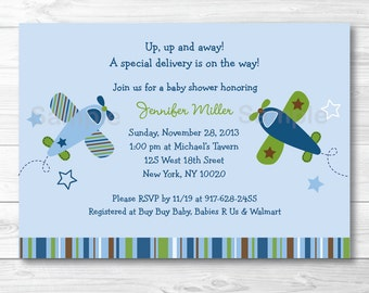 Airplane Baby Shower Invitation / Airplane Baby Shower Invite / Airplanes & Stars / Airplane Baby Shower Theme / PRINTABLE A415