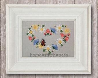 PDF Wildflower Garland Cross Stitch Heart Stitch Love Stitch Wreath Floral Heart Valentines Day Monarch Butterfly Embroidery Wildflower Hoop