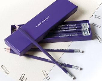High Quality Personalised Pencils in a Box -Printed with Name - BRIGHT PURPLE (plus other colours)