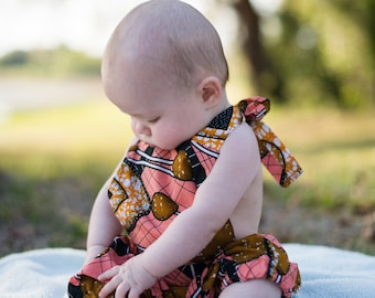 Baby Jumper / Baby Romper / African Print (Strawberry Pink, Golden Brown, & Cantelope Yellow)