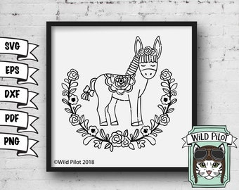 Donkey SVG, Cute Donkey svg, cute donkey clip art, cute donkey vector, cute donkey cut file, Wreath, svg, dxf, personal and commercial use