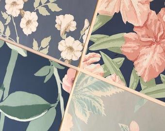 Pack of (4) - Navy/Green/Pink Floral Vintage Wallpaper Pack, 11x14 size