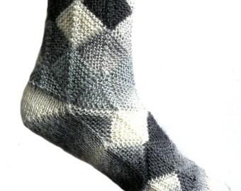 Fairytale socks grey/white,  size EU 37/38  UK 5/5.5 US 7/7.5