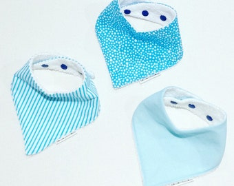 Baby Bandana Bibs - Set of 3 or Sold Individually - Blue with White Bubbles, White with Blue Stripes and Blue with White Pin Dots