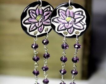 Lotus Flower Longline Dangle Ceramic Earrings with Purple Crystals