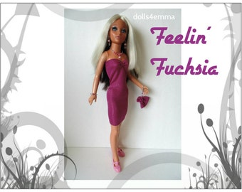 Tiffany Taylor Doll Clothes - FEELIN' FUCHSIA - Sexy Dress, Purse and Jewelry - Handmade Fashion - by dolls4emma