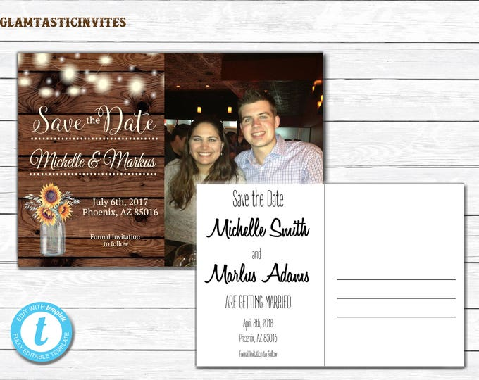 Rustic Save-The-Dates, Printable Rustic Save the Date Postcard, Save the Date, Rustic Wedding, Postcard, Printable Save the Date, TEMPLATE