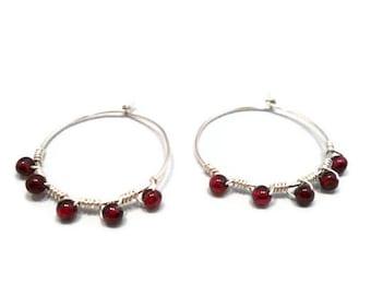 Hoop Earrings Garnet Gemstone Red Sterling Silver Wire Wrapped January Birthstone Jewelry