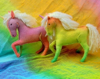 Ecofriendly Realistic Felted Horse, Unicorn (hand made, steiner, waldorf)