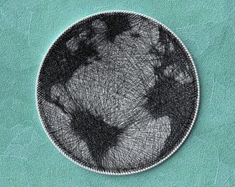 World Globe, Earth, World map, Gift for the traveler, Thread artwork, String Wall Art, Handmade, Unique Decor, Picture of thread, Gift