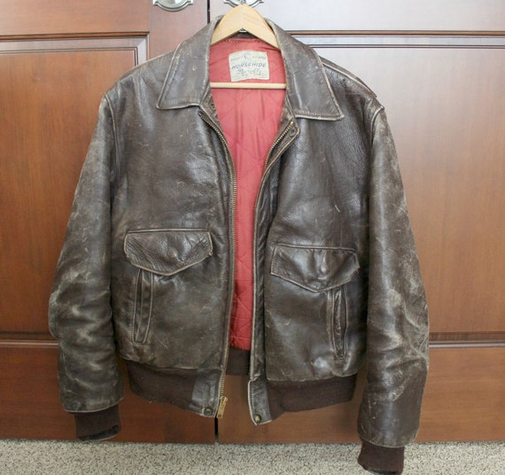 Vintage Mens Brown Leather Jacket, Bomber Motorcycle Jacket, Front Quarter Horsehide by Durable