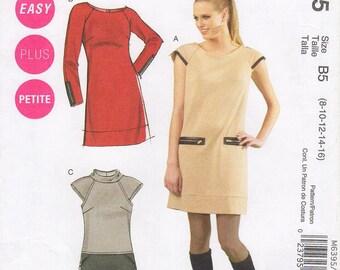 Sz 8/10/12/14/16 - McCall's Dress Pattern M6395 - Misses' Raglan Sleeve Dress with Zipper Details in Three Variations - McCall's Pattern