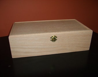 Unfinished  Wood Box w/ Hinges & Latch 13 3/4 x7 1/4x 4-unfinished wood box-ready to finish-engravable wood box-personalized laser engraving
