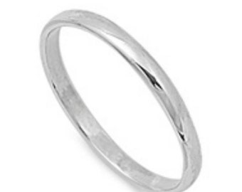 Sterling Silver 2mm Plain Band Thumb Ring