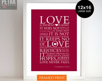 Love Print, Bible verse -1 Corinthians 13:4 7 -12x16 Scripture art Framed Print Wall art- Wedding/ Anniversary/Valentine Gift.