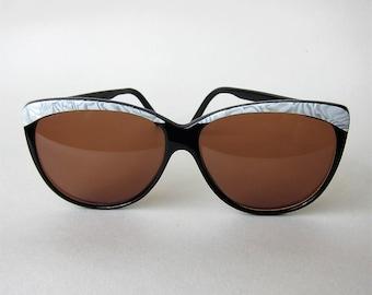 "Sunglasses ""Colette"" 80's Marc Antoine Verre smoky Black Pearl solar Oversize 1980"