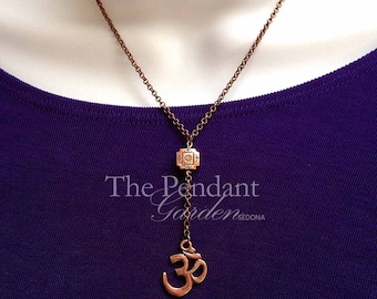 OM NECKLACE COPPER Y Necklace Om Pendant Yoga Jewelry Lariat Reiki Jewelry Meditation Jewelry Yoga Gift Aum Necklace Yoga Pendant