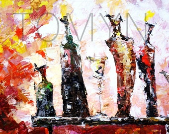 ART  GLASS. ABSTRACT Original Oil Painting.