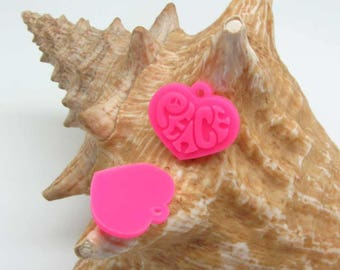 Set of 4 charms Peace Silicone Pink neon-20 * 23 mm