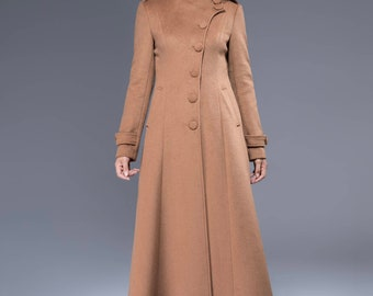 Camel wool coat, wool coat, long wool coat, womens coat, woman wool coat, maxi coat, Asymmetrical coat, warm coat, high collar coat  1826