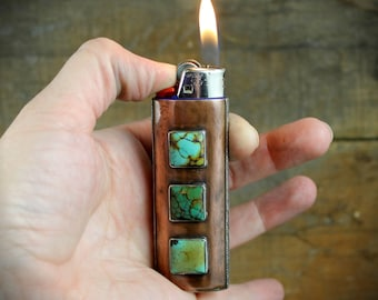 Custom Copper Lighter Case with Natural Turquoise - MADE TO ORDER