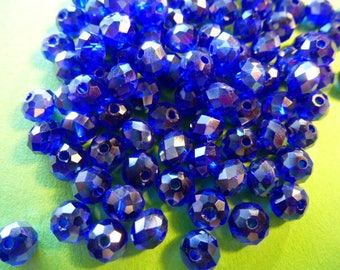 ultramarine blue set of 10 6 mm AB Crystal faceted beads