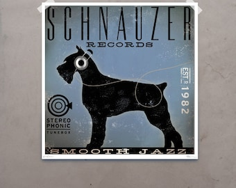 Schnauzer records original illustration by stephen fowler signed archival print