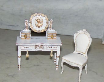 1:12th Dollhouse Desk or Vanity.  Painted.  Metal Accents Including a Cameo.  French.