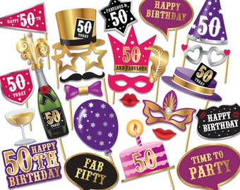 50th birthday Photo Booth props - Instant Download printable PDF. Fiftieth birthday party Photo Booth supplies. Fifty Today - 0233