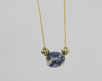 Blue Bead Gold Chain Necklace