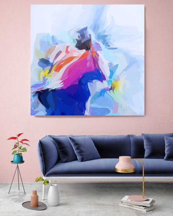 """Fantasy Of The Good Life, Art Abstract Print on Canvas up to 50"""", Blue Pink White Yellow Abstract Canvas Art Print by Irena Orlov"""