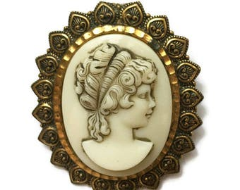 Molded Cameo Brooch Ivory Color Victorian Revival West Germany Vintage