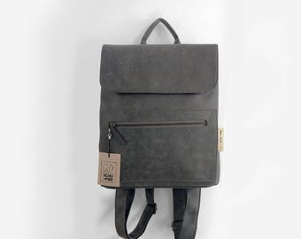 Vegan Backpack, Gray Vegan Backpack, School Style Backpack, Faux Leather Backpack, Women Backpack, Casual Backpack, Vegan Women Bag