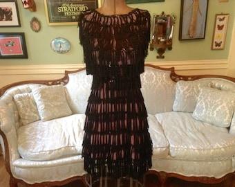 Vintage Flapper Cha-Cha Costume Dress / Fringe Dress / Flapper Dress