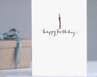 Birthday Card: Birthday Candles, Celebration Card, Birthday for Her, Keepsake Card, Adult Card, Typography Card, Illustrated Birthday Card