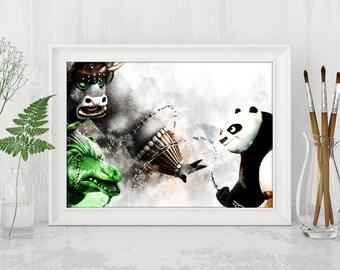 Kai vs Po Printable Kung Fu Panda Printable Kung Fu Panda Print Kung Fu Panda Dreamworks Instant Download Birthday Printable Art n483