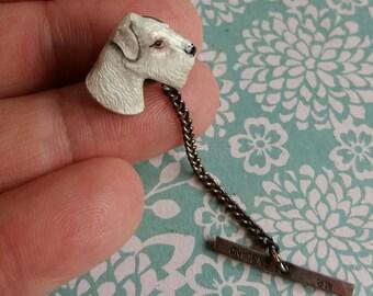 Rare 1950's Kenart Silver Enamel Terrier Dog Pin Lapel Brooch - Finely Artist Enamelled - Made in England