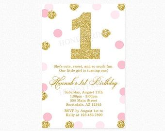 Pink and Gold Polka Dot Birthday Party Invitation, 1st Birthday, Milestone Birthday, Gold Glitter, Digital Printable File or Printed
